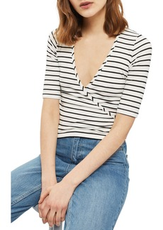 Topshop Stripe Wrap Top