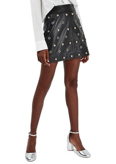 Topshop Stud & Grommet Leather Miniskirt