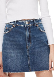 Topshop Studded Denim Skirt