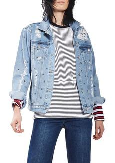 Topshop Studded Distressed Denim Jacket