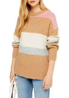 Topshop Supersoft Stripe Crewneck Sweater