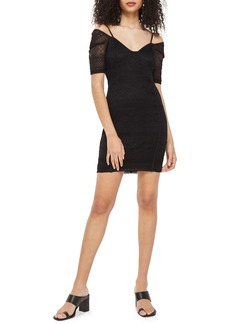 Topshop Sweetheart Neck Lace Body-Con Minidress
