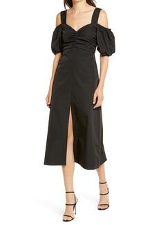 Topshop Taffeta Off the Shoulder Midi Dress