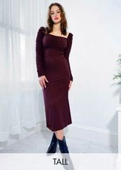 Topshop Tall long sleeve ruched midi dress in dark purple