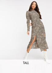 Topshop Tall shirt dress in monchrome print