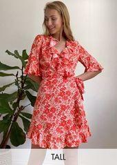 Topshop Tall wrap mini tea dress in red floral