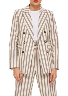 Topshop Taupe Stripe Double Breasted Blazer