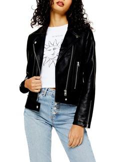 Topshop Teddy Faux Leather Biker Jacket (Regular & Petite)