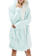 Topshop Teddy Hooded Chevron Robe