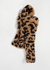 Topshop teddy scarf in leopard print