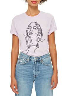 Topshop Tee & Cake Embroidered Sketch Face Tee