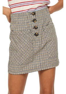 Topshop Textured Checked Button Skirt