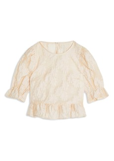 Topshop Textured Floral Puff Sleeve Blouse