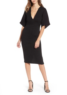 Topshop Textured Plunge Midi Dress
