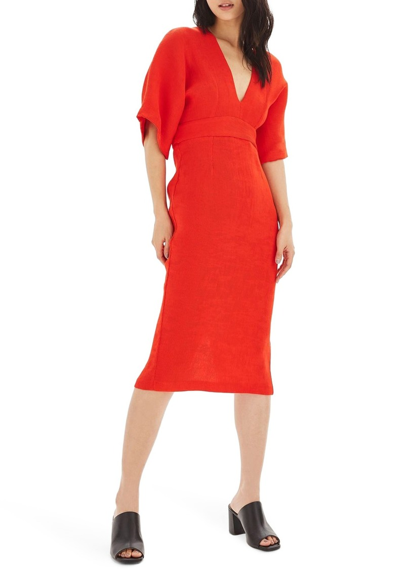 9ab64d3e99 Topshop Topshop Textured Plunge Midi Dress