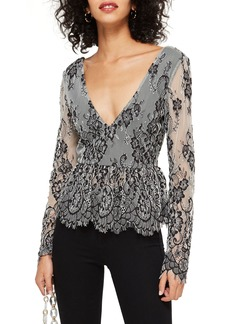 Topshop Tie Back Lace Peplum Top