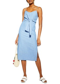 Topshop Tie Denim Midi Dress