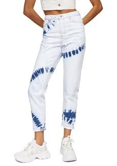 Topshop Tie Dye High Waist Mom Jeans (Bleach)