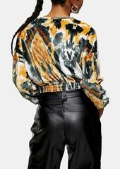 Topshop Tie Dye Long Sleeve Stretch Velvet Top