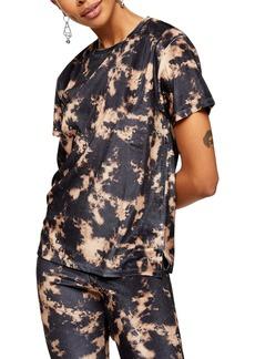 Topshop Tie Dye Velvet T-Shirt