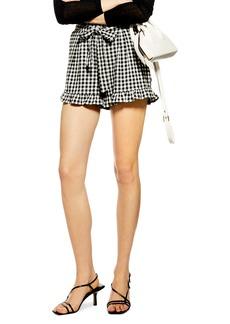 Topshop Tie Front Cotton & Linen Gingham Shorts