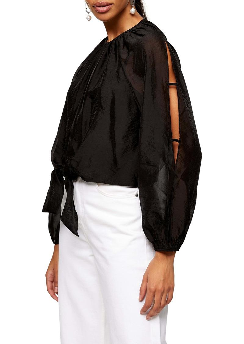 Topshop Tie-Front Open-Sleeve Blouse