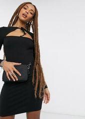 Topshop tie neck cutout mini dress in black