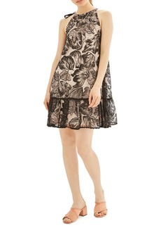 Topshop Tie Neck Lace Swing Dress