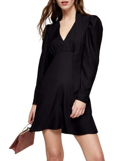 Topshop Tie Neck Long Sleeve Minidress