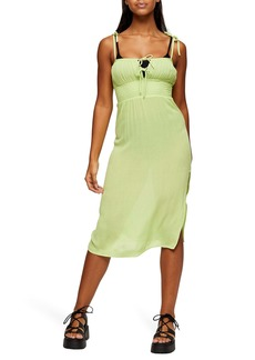 Topshop Tie Shoulder Ruched Dress
