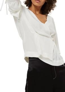 Topshop Tie Sleeve Wrap Blouse