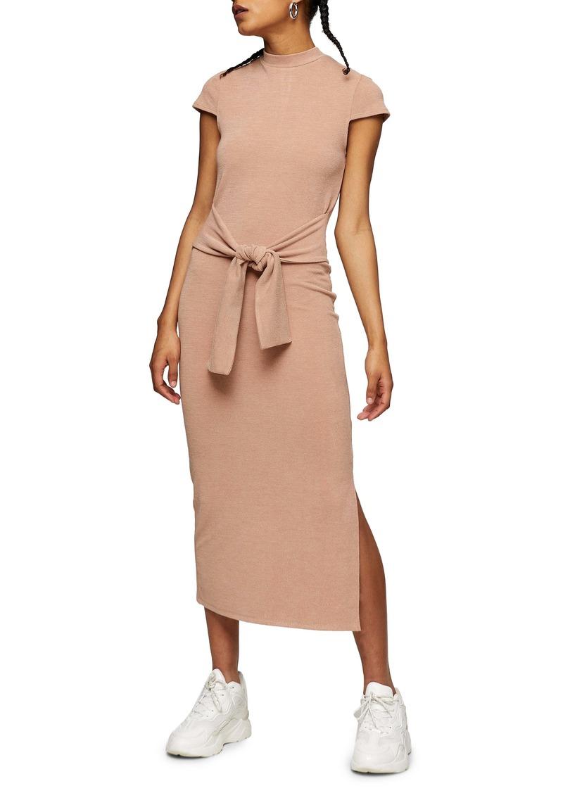 Topshop Tie Waist Cap Sleeve Midi Dress