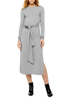 Topshop Tie Waist Long Sleeve Knit Midi Dress