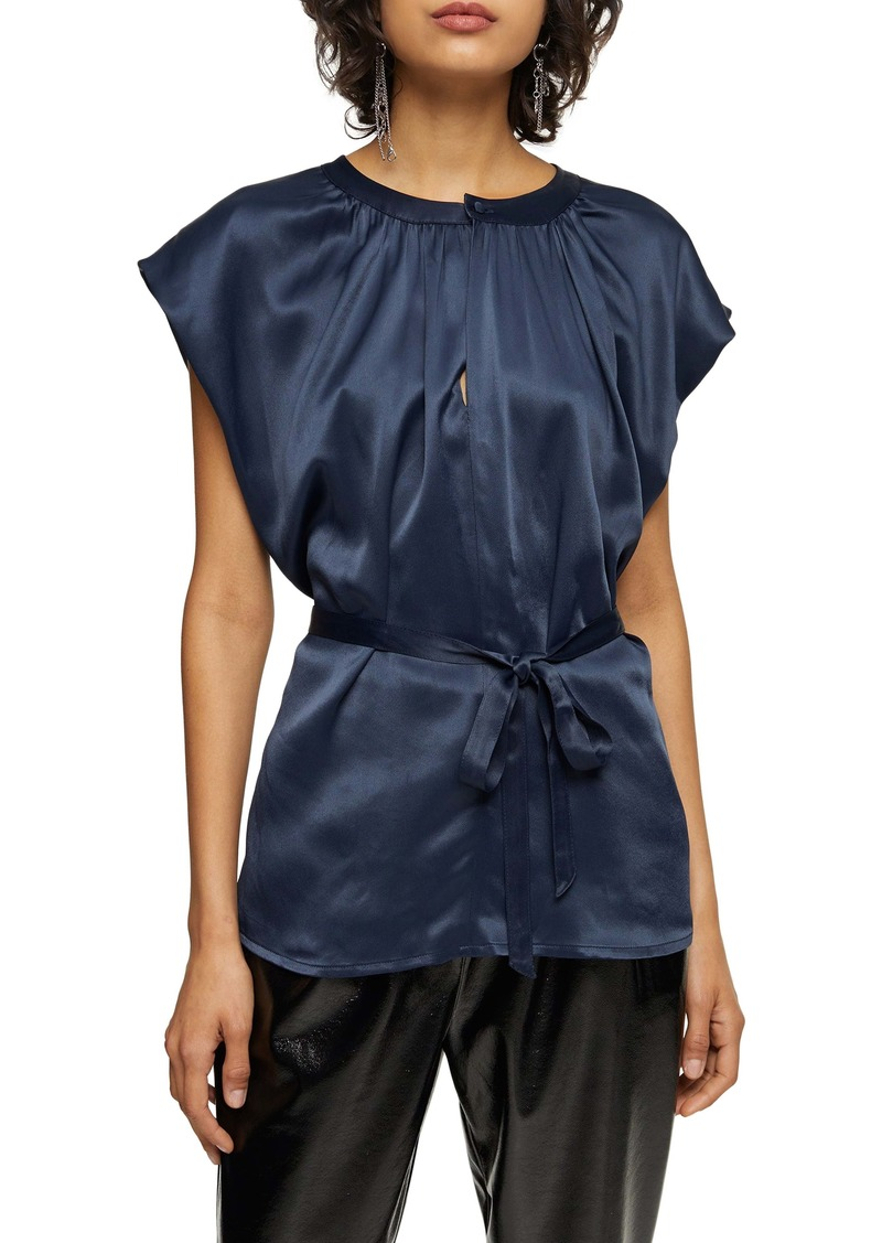Topshop Tie Waist Sleeveless Blouse