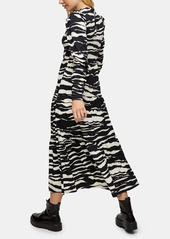 Topshop Tiered Animal Print Long Sleeve Dress