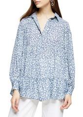 Topshop Tiered Cheetah Print Shirt