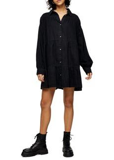 Topshop Tiered Denim Shirt Dress