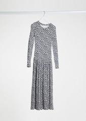 Topshop Tiered Hem Midi Dress In Navy Daisy Print
