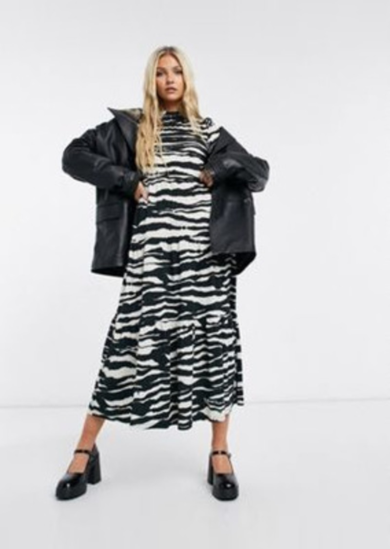 Topshop tiered midi dress in monochrome animal print