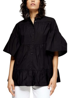 Topshop Tiered Poplin Blouse