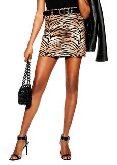 Topshop Tiger Print Denim Miniskirt