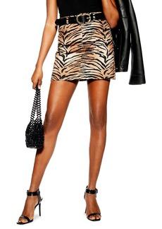 Topshop Tiger Print Denim Skirt (Petite)