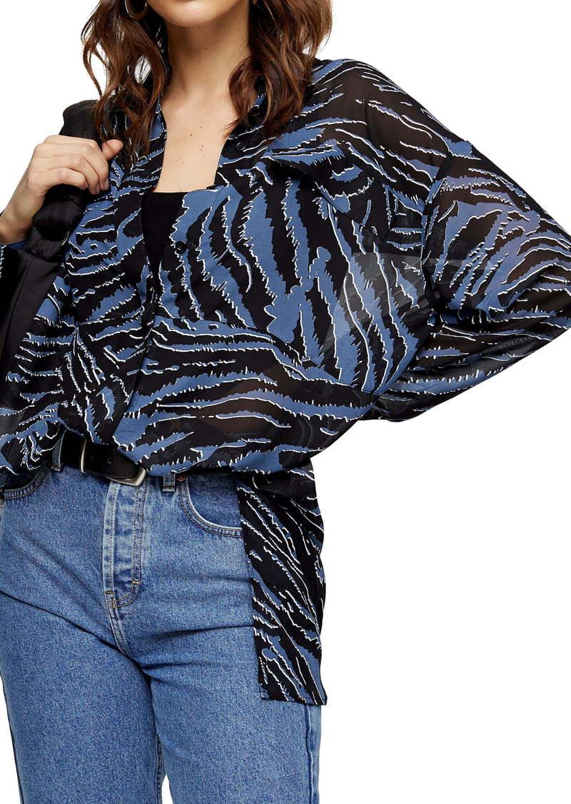 Topshop Tiger Print Oversize Shirt