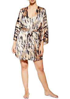 Topshop Tiger Print Satin Short Robe