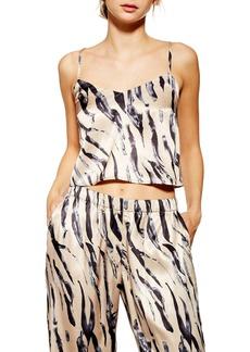 Topshop Tiger Satin Crop Pajama Camisole