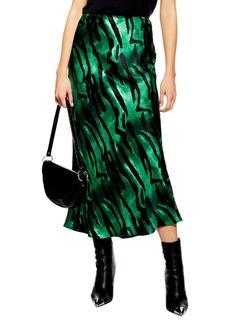 Topshop Tiger Satin Midi Skirt