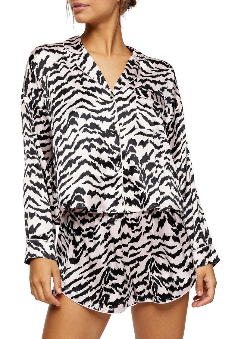Topshop Tiger Satin Shorts Pajamas