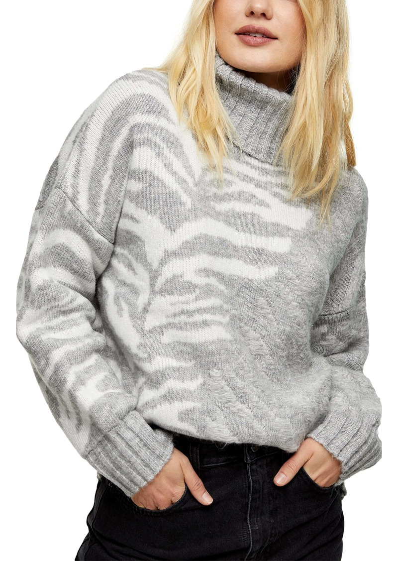 Topshop Tiger Stripe Turtleneck Sweater