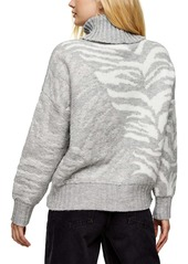 Topshop Tiger Stripe Turtleneck Sweater