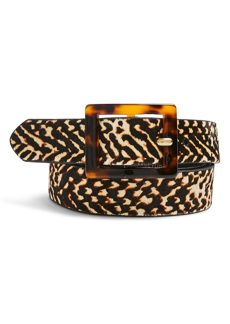 Topshop Tiger Tortiseshell Buckle Genuine Calf Hair Belt